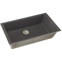 """Elkay Quartz Luxe 35-7/8"""" x 19"""" x 9"""" Single Bowl Undermount Kitchen Sink with Perfect Drain, Charcoal"""