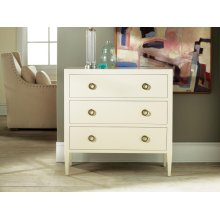 Painted Three Drawer Chest On Legs, Painted Antique White. Solid Brass Hardware.