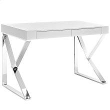 Adjacent Stainless Steel Desk in White