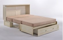 Murphy Cabinet Bed with Tri-Fold Queen Mattress and USB Charging Ports *Buttercream Finish*