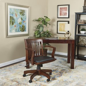 Office StarDeluxe Wood Banker's Chair With Vinyl Padded Seat In Espresso Finish