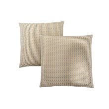 "PILLOW - 18""X 18"" / GOLD / GREY ABSTRACT DOT / 2PCS"