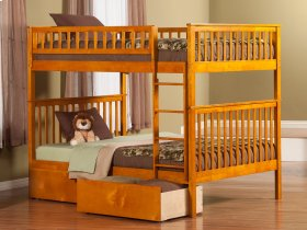 Woodland Bunk Bed Full over Full with Urban Bed Drawers in Caramel Latte