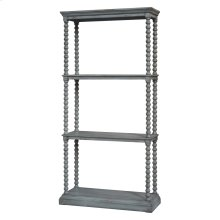 Turned Leg Antiqued Grey Etagere