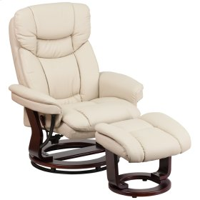 Contemporary Beige Leather Recliner and Curved Ottoman with Swiveling Mahogany Wood Base