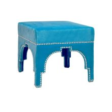 Nickel Nailhead Trim Stool In Turquoise Velvet