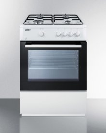 "24"" Wide 'slide-in' Look Gas Range With Sealed Burners, Waist-high Broiler, Storage Compartment, Large Black Glass Oven Window, and White Cabinet"