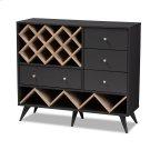 Baxton Studio Savino Mid-Century Modern Dark Grey and Oak Finished Wood Wine Cabinet Product Image