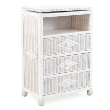 Wicker 3 Drawer Swivel TV Chest Cotton 3733