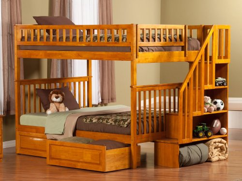 Woodland Staircase Bunk Bed Full over Full with Raised Panel Bed Drawers in Caramel Latte