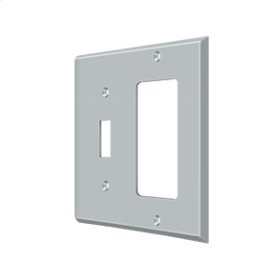 Switch Plate, Single Switch/Single Rocker - Brushed Chrome
