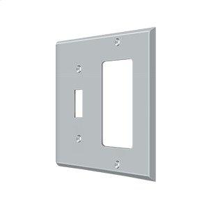 Switch Plate, Single Switch/Single Rocker - Brushed Chrome