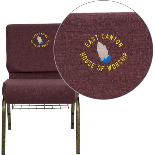 Embroidered HERCULES Series 21''W Church Chair in Plum Fabric with Cup Book Rack - Gold Vein Frame