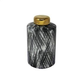 """Ceramic 9.5"""" Ginger Jar, Black/white"""