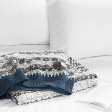 Patterned Throw Blanket - Gray and Blue