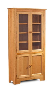 "Shaker Wide Bookcase, Glass Doors on Top and Wood Doors on Bottom, Shaker Wide Bookcase, Glass Doors on Top and Wood Doors on Bottom, 3-Adjustable Shelves, 37 1/2""w"