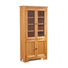 """Shaker Wide Bookcase, Glass Doors on Top and Wood Doors on Bottom, Shaker Wide Bookcase, Glass Doors on Top and Wood Doors on Bottom, 5-Adjustable Shelves, 37 1/2""""w"""