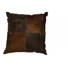 Pillow 60x60 cm COUNTRY leather-cowskin brown square