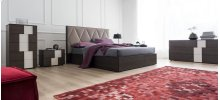 Wooden bed - partially upholstered