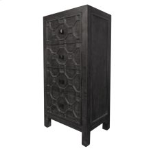 Silvestro Distressed Small Cabinet 4 Drawers, Antique Black