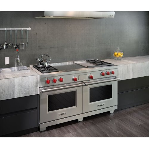 "60"" Dual Fuel Range - 4 Burners, Infrared Griddle and French Top"
