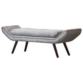 Newcastle KD Fabric Nailhead Tufted Bench, Drizzle Gray