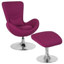 Egg Series Magenta Fabric Side Reception Chair with Ottoman