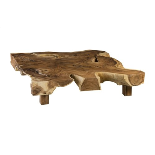 Chamcha Wood Thick Coffee Table on Block Legs, Square