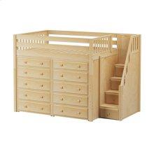 High Loft w/ Staircase & 2 x 5 Drawer Dressers : Full : Natural : Slat