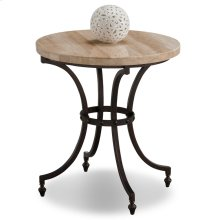 Round Travertine Stone Top Side Table with Rubbed Bronze Metal Base #10122