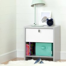 1-Drawer Nightstand - Soft Gray and Pure White