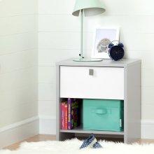1-Drawer Nightstand - Soft Gray and Pure White