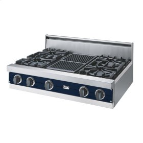 "Viking Blue 36"" Open Burner Rangetop - VGRT (36"" wide, four burners 12"" wide char-grill)"