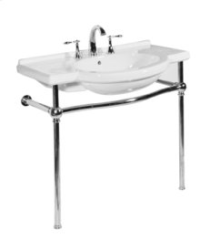 White NOUVEAU Console Lavatory Metal Stand with Polished Chrome Metal Finish