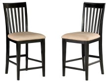 Mission Pub Chairs Set of 2 with Oatmeal Cushion in Espresso