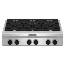 36-Inch 6-Burner Gas Rangetop, Commercial-Style - Stainless Steel