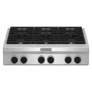 36-Inch 6 Burner Gas Rangetop, Commercial-Style - Stainless Steel -