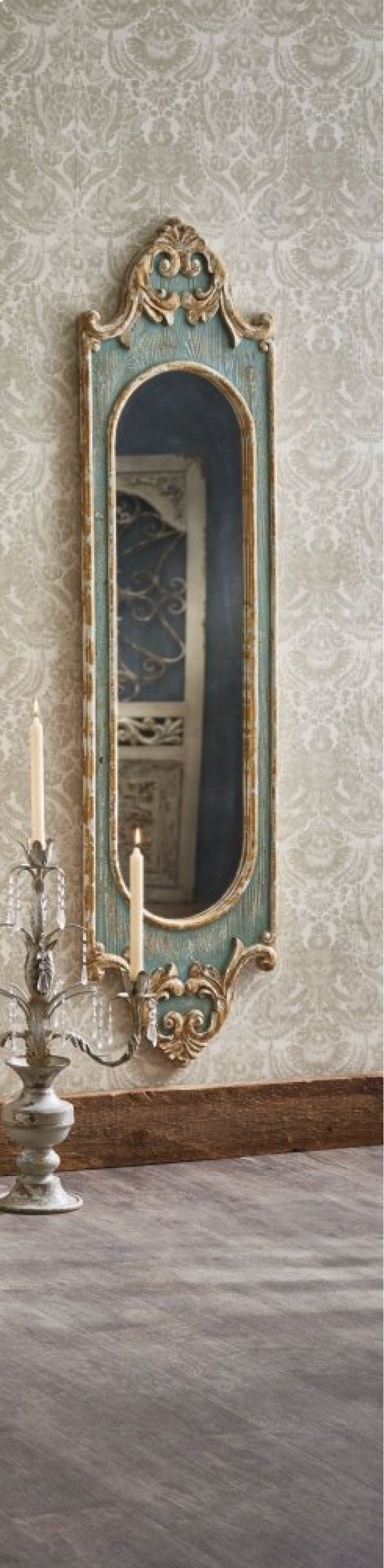 Tall Distressed Blue Scroll Wall Mirror With Gold Brush