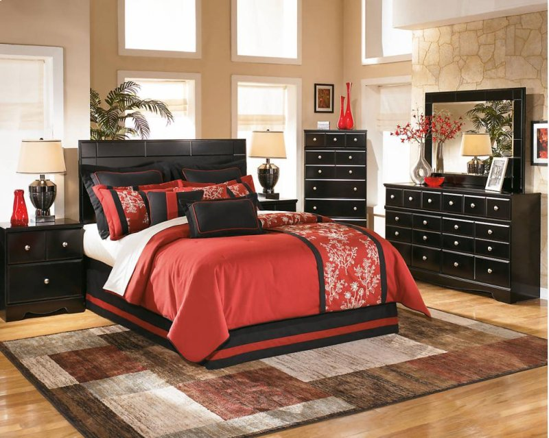 Shay Almost Black 8 Piece Bedroom Set Hidden