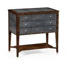 Faux Macassar Ebony & Anthracite Shagreen Chest of Three Drawer