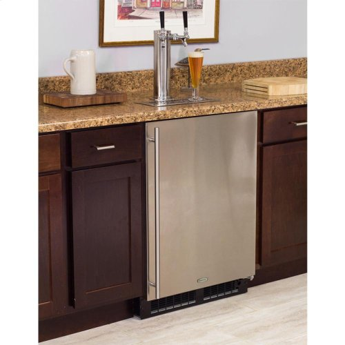 Built-In Indoor Twin Tap - Marvel Refrigeration - Solid Panel Overlay Ready Door - Integrated Left Hinge