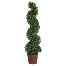 Potted Spiral Faux Boxwood