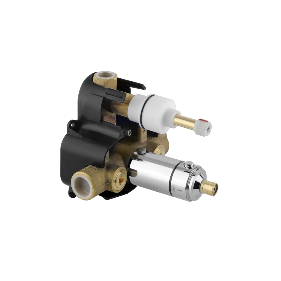 """Thermostatic valve, 1/2"""" connections ROUGH VALVE with integral stop and 1-way diverter"""