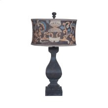 Carved Beacon Table Lamp In Ash Black Stain With Drum Shade