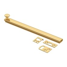 """8"""" Surface Bolt, Concealed Screw, HD - PVD Polished Brass"""