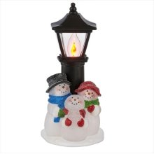 Snowman Family at Street Lamp Flicker Night Light.