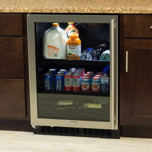 """24"""" Beverage Center with Convertible Shelves - Solid Overlay Panel - Integrated Right Hinge"""