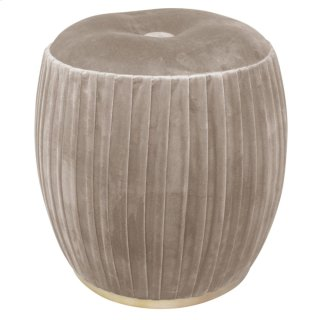 Bianca Tufted Round Ottoman, Chamoise Gray/Gold
