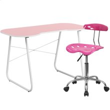 Pink Computer Desk and Tractor Chair