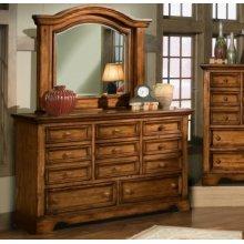 Eight Drawer Triple Dresser and Landscape Mirror